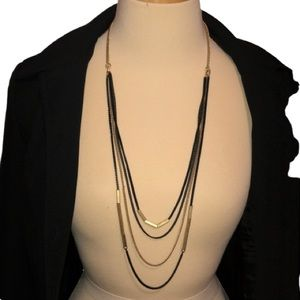 LIA SOPHIA quad strand black & gold tone necklace
